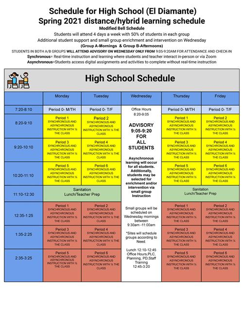 EDHS Return to School Bell Schedule Beginning 4/6/21